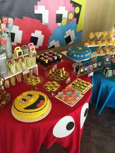 Fun cake at a PacMan birthday party! See more party planning ideas at CatchMyParty.com!