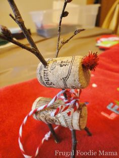 Frugal Foodie Mama: ~Santa's Little Bloggers~ Wine {Or Beer!} Cork Rudolph Ornament