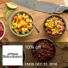 WorldMarket - 10% Off 10% off! Valid until 12/31/16 Brought to you by http://www.imin.com and http://www.imin.com/store-coupons/worldmarket