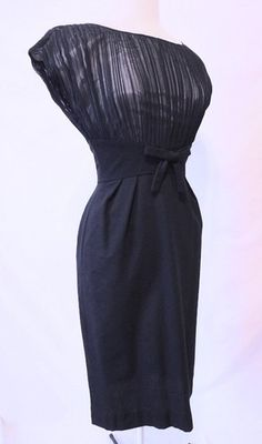 Vintage 50s Dramatic Shadow Chiffon Illusion Hourglass Navy Blue Dress