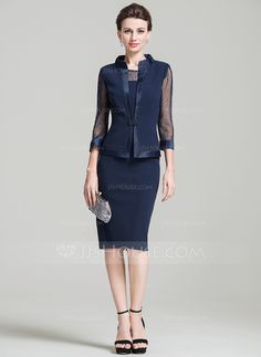 Sheath/Column Scoop Neck Knee-Length Mother of the Bride Dress With Beading (008080190)