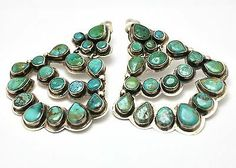 Oscar Betz Turquoise Cluster Sterling Silver Large Earrings C371