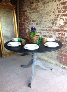 Sold - Antique Dining Table, Brass Feet Castors. www.sallywhitedesigns.com