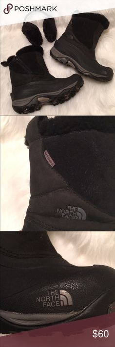 """The North Face Black Waterproof 9"""" Winter Boots 8 These boots are in fabulous condition with the exception of some small scuffs. Faux fur is not balled or worn. Zipper works great. Inside each boot is the 3 1/2"""" Zipper. Lots of tread on the soles. I hardly ever wore these and wouldn't sell them but I have arthritis in my left ankle and can't bare anything touching it. These will keep your feet warm and dry all winter long. Non smoking home The North Face Shoes Winter & Rain Boots"""