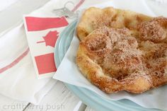 Craftberry Bush: So Canadian.fried dough pastry (aka Elephant Ears in the U. Canadian Food, Canadian Recipes, Köstliche Desserts, Delicious Desserts, Dessert Recipes, Canadian Beaver Tail Recipe, Pastry Recipes, Baking Recipes, Recipes