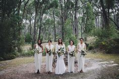 bridesmaids all in white