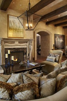L. Cramer Designers + Builders Inspiration Gallery- Great room on the Lake Minnetonka features a welcoming fireplace surrounded by exquisite details
