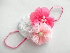 Pink Baby Headband - Newborn Headband - Elastic Headband by simpledesignbows