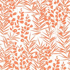 South Beach Wallpaper & Printed Cotton Fabric in Orange from the Sweet Life Collection by #Thibaut  #tangerinetango #miamichic