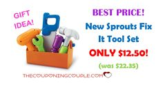 "BEST PRICE! Get your little one this New Sprouts Fix It Tool Set for ONLY $12.50 was $22.35! Great gift idea for the ones that like to ""fix"" things!  Click the link below to get all of the details ► http://www.thecouponingcouple.com/new-sprouts-fix-it-tool-set/ #Coupons #Couponing #CouponCommunity  Visit us at http://www.thecouponingcouple.com for more great posts!"