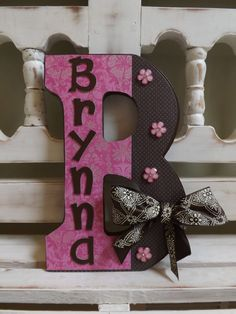 """LARGE WALL LETTER Monogram Initials Custom Name Wall Letters Personalized Girls Room 6""""x9"""" New Baby Pink Brown"""