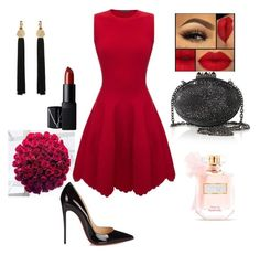 """Devil in red dress"" by muetapic on Polyvore featuring NARS Cosmetics, Alexander McQueen, Yves Saint Laurent, Christian Louboutin and Victoria's Secret"