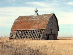 Leaning old barn