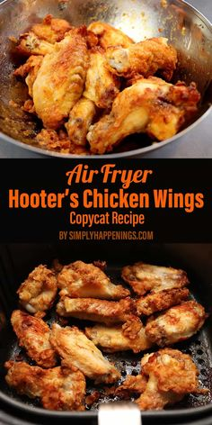 This is a recipe for Hooters hot wings cooked in the air fryer. Theyre crispy a little spicy and definitely juicy! Perfect as an appetizer for parties football games or as a meal at home when you're missing that spicy flavor! Hooters Chicken Wing Recipe, Air Fryer Recipes Chicken Wings, Air Fryer Fried Chicken, Air Fried Food, Chicken Wing Recipes, Hooters Recipe, Recipe Chicken, Crispy Chicken Wings, Air Fryer Recipes Snacks