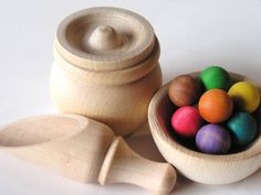 Natural Wood Toy- MAGIC BEANS- Waldorf- Montessori Inspired Educational Transferring Toy