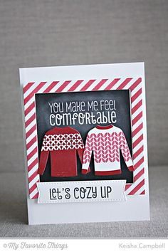 Cozy Greetings, Nordic Knits, Blueprints 20 Die-namics, Comfy Sweater Die-namics, Diagonal Stripes Stencil - Keisha Campbell #mftstamps