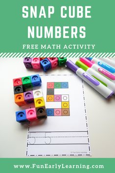 Snap Cube Numbers Free Printable Math Activity Great for learning number recognition and identification number formation writing and matching Fun activity for preschool p. Numbers Kindergarten, Kindergarten Math Activities, Preschool Learning, Early Learning, Learning Goals, Learning Quotes, Teaching, Learning Activities, Writing Numbers