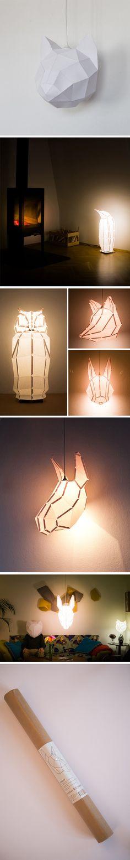 Les créateurs de mostlikelyShop, basés à Vienne en Autriche, signent une collection de luminaires en papier sous forme d'animaux variés. Si vous passez commande, chaque modèle arrive roulé dans un tube et comporte des informations sur la façon de le plier, coller et ajouter une ampoule, il ne vous reste plus qu'à l'assembler