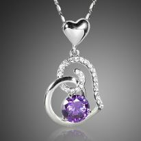 18K White Gold Plated Purple Stellux Crystals Heart Pendant Necklace for Valentine's Day Gift of Love (1) (1)
