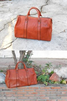 63a99a6435cd Vintage Brown Leather Duffle Bag   Brown Leather Carry On Bag   Handle Bag    Luggage Bag  Speedy Bag   small