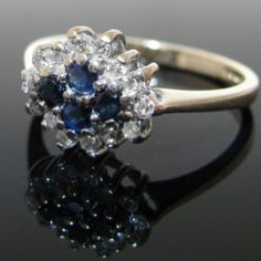#Vintage #Diamond #Sapphire #Cluster #Ring €250 #Jewelry #The #Antiques #Room #Galway #Ireland Vintage Diamond, Vintage Rings, Galway Ireland, Cluster Ring, Heart Ring, Trust, Sapphire, Engagement Rings, Antiques