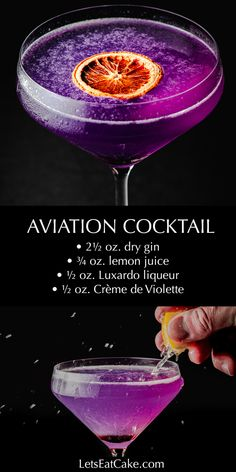 best gin cocktails How to make a classic Aviation cocktail: combine gin, lemon juice, maraschino cherry liqueur (Luxardo) and Creme de Violette or Creme de Yvette, no simple syrup re Bar Drinks, Cocktail Drinks, Yummy Drinks, Alcoholic Drinks, Purple Cocktails, Beverages, Purple Drinks Alcohol, Gin Cocktail Recipes, Fancy Drinks