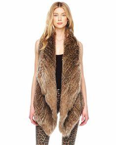 MICHAEL Michael Kors  Asymmetric Raccoon Vest.LOVE IT!!