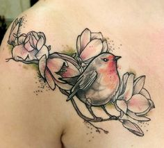 Robin and flower tattoo