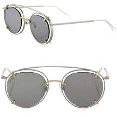 Gentle Monster XRafael de Cárdenas Vision Quest 51MM Rounded Aviators (6.965.890 VND) ❤ liked on Polyvore featuring accessories, eyewear, sunglasses, apparel & accessories, silver gold, mens aviators, mens round sunglasses, mens eyewear, mens aviator sunglasses and mens sunglasses