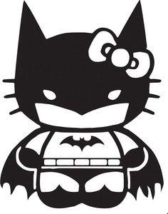 Cute and cool at the same time! What's better than Hello Kitty and Batman?Hello Kitty dressed as Batman! Chat Hello Kitty, Hello Cat, Nananana Batman, Wal Art, Pumpkin Stencil, Disney Fantasy, Batman The Dark Knight, Batman Dark, Vinyl Projects