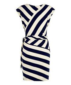 Blue & Cream Stripe Twist Front Dress #zulily #zulilyfinds