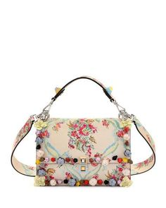 0a2cafc62e89 Fendi Kan I Floral Leather Shoulder Bag