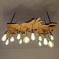 Olive wood chandelier edison light bulbs modern Artist lamp rustic raw wood lamp Olive wood c. Rustic Lamps, Rustic Lighting, Wood Chandelier, Edison Bulb Chandelier, Edison Bulbs, Edison Lamp, Edison Lighting, Deco Originale, Wooden Lamp