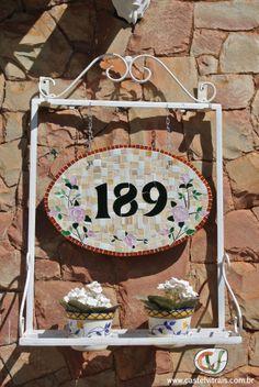 Numeral em mosaico - tema flores
