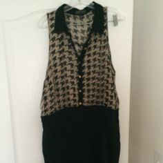 Black and houndstooth dress Black and houndstooth dress with button down in the front Forever 21 Dresses Midi