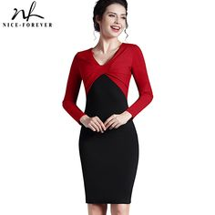 Nice-forever Elegant Autumn Work Patchwork Sheath Vintage Women Gorgeous OL Style V neck Knee-Length Bodycon Pencil Dress B248