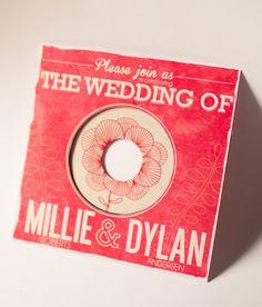 Floral Vintage Record Wedding Invitation