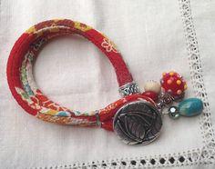 Soft Chirimen Kimono Cord Bracelet Tomato Red Beige by JemsbyJoan, $32.50
