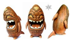 """NEW POST: NemO from Bad Applez Inc. has really gotten the creation of wood texturing on a custom vinyl piece down to a science, as clearly illustrated by his recent 7-inch tall Sharky piece """"KeKoa..."""