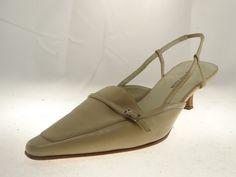Anne Klein Pointed Toe Slingback Kitten heels Tan Color Size 6M #AnneKlein #KittenHeels