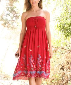 Red Wine Shirred Embroidered Convertible Strapless Dress | zulily