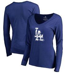 Los Angeles Dodgers Fanatics Branded Women s Splatter Logo Long Sleeve  V-Neck T-Shirt - Royal cdb300e35