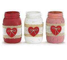 Decorative Glass Candleholder Mason Jar for Valentine's Day