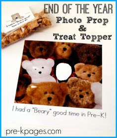 We Had a Beary Good Year End of the School Year Photo Keepsake and printable treat bag topper for preschool and kindergarten!