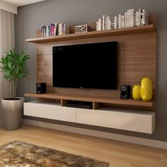 Resultado de imagen para painel tv :v bedroom tv wall, tv in bedroom e tv w Tv Rack Design, Tv Cabinet Design, Tv Wall Panel, Wall Panel Design, Wall Tv, Tv Wall Shelves, Panel Lcd, Tv Unit Decor, Tv Wall Decor