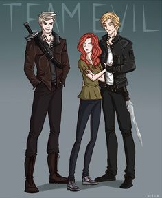Sebastian, Clary and Jace in City of Lost Souls as the very evil Team Evil