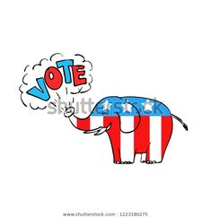 """Drawing sketch style illustration of a American elephant blowing the word """"Vote"""" from it's trunk on isolated white background in color. Drawing Sketches, Drawings, Disney Characters, Fictional Characters, Royalty Free Stock Photos, Editorial, Elephant, Illustrations, American"""