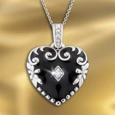 The Concorde Collection Victorian Lovers' Diamond Pendant - Genuine Diamond… Enamel… solid Sterling Silver - Nostalgia and Passion are always the fashion!....