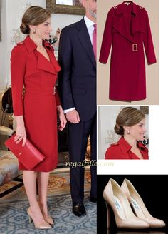 Queen Letizia in Burberry trench coat dress and Prada Shoes  http://www.regalfille.com/2017/7/Queen-in-red-for-2nd-look.php