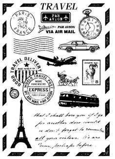 design for umbrella stamp 【travel】 Travel Scrapbook, Scrapbook Albums, Deco France, Airmail Envelopes, Etiquette Vintage, Travel Stamp, Beach Trip, Beach Travel, Decoupage Paper